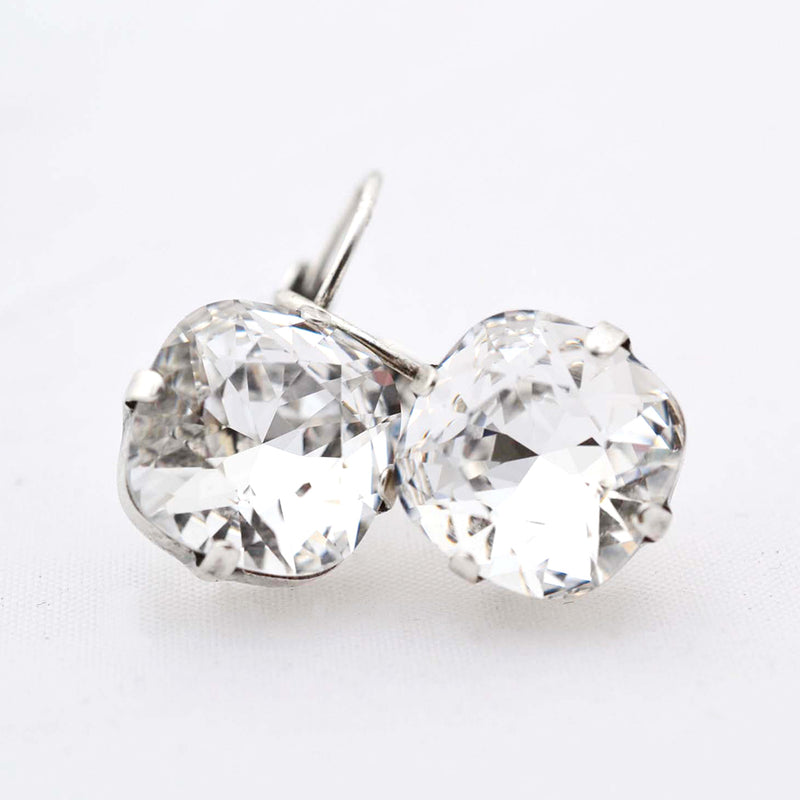 Silver plated square earrings with Swarovski crystal