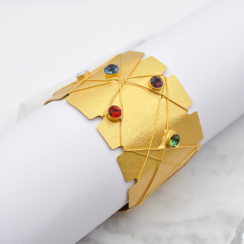 Gold statement cuff bracelet with multicolor Swarovski