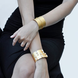 Gold cuff bracelet with swarovski crystals