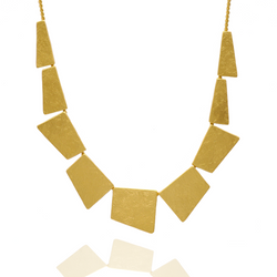 Geometrical cut gold statement necklace