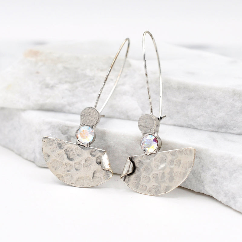 Silver hammered dangle earrings with aurora Swarovski crystal