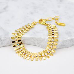 gold linked bracelet with aurora swarovski