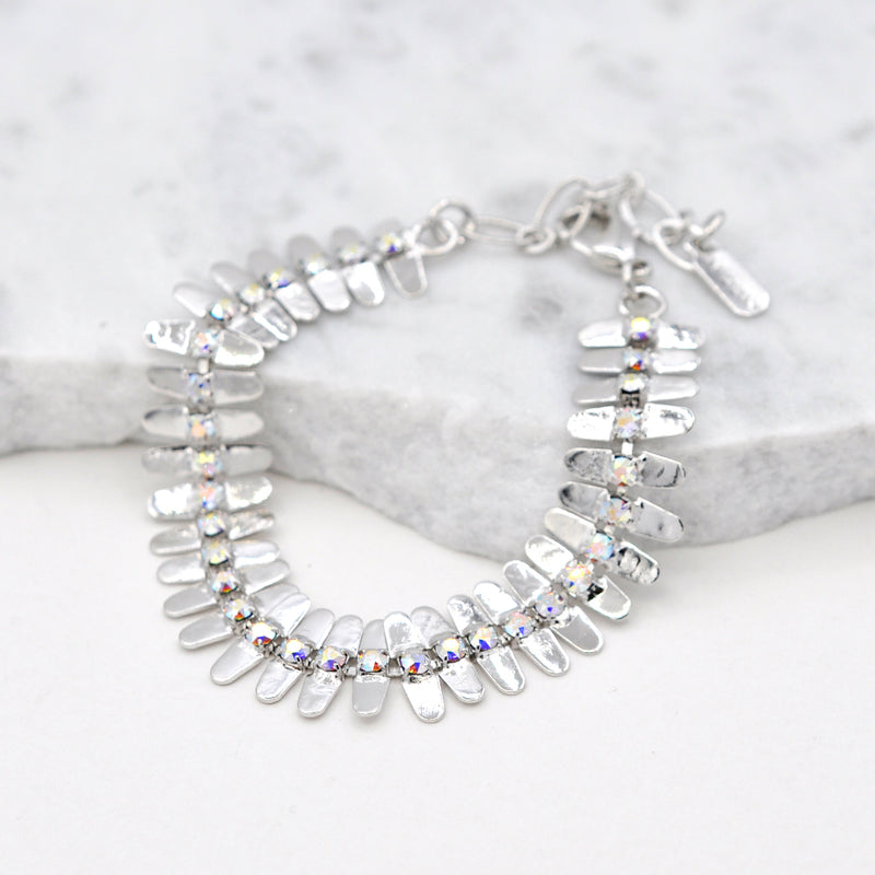 Silver linked bracelet with aurora swarovski