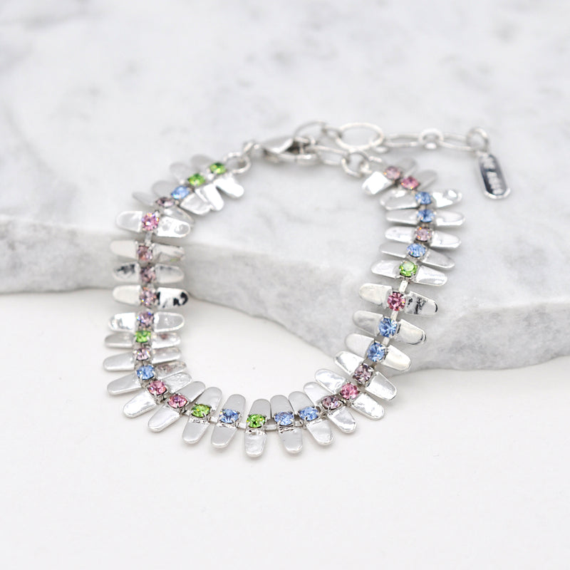 Silver linked bracelet with multicolor swarovski