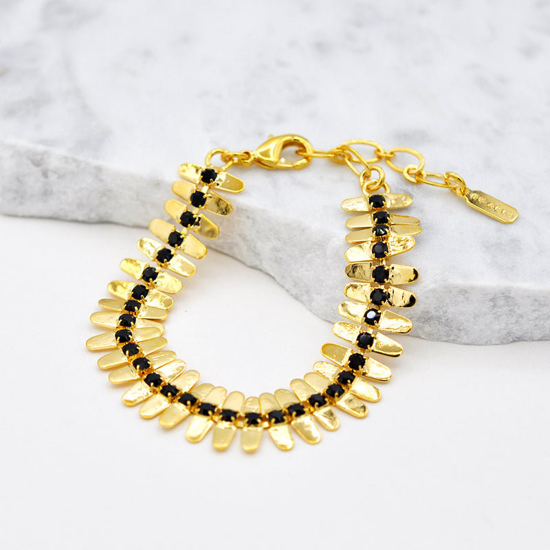 gold linked bracelet with onyx swarovski
