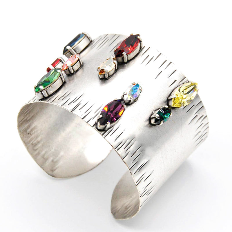 Silver band cuff with multi color Swarovski crytstals