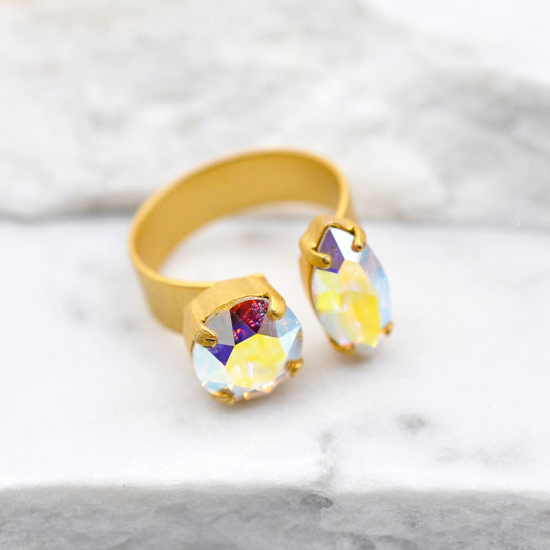 Gold cocktail ring with aurora Swarovski crystals