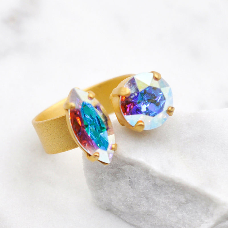 gold dual open cocktail ring with aurora Swarovski crystals