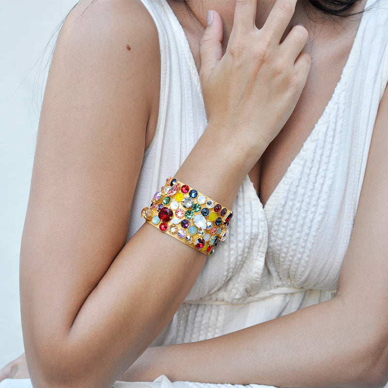 gold band cuff with multicolor Swarovski crystals