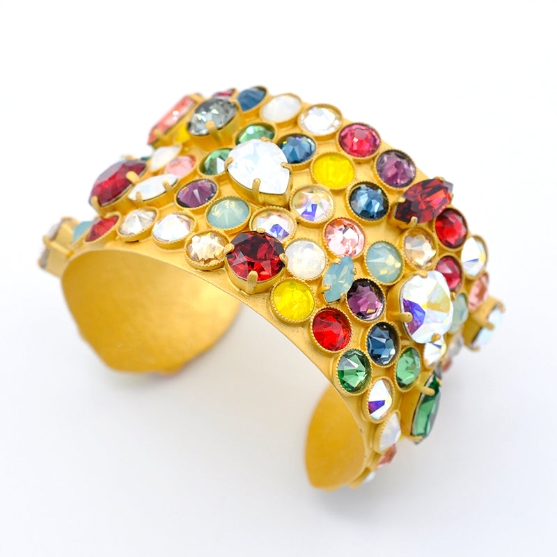 Gold cuff with multicolor Swarovski crystals