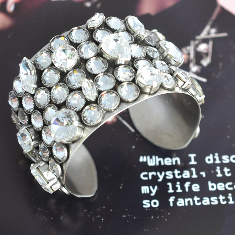 Silver cuff bracelet covered with Swarovski crystal