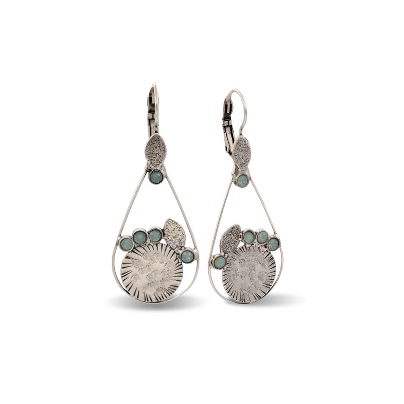 Drop shape hand hammered silver earrings with blue crystals