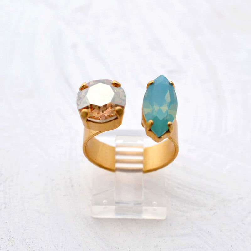 Gold cocktail ring with multi color Swarovski