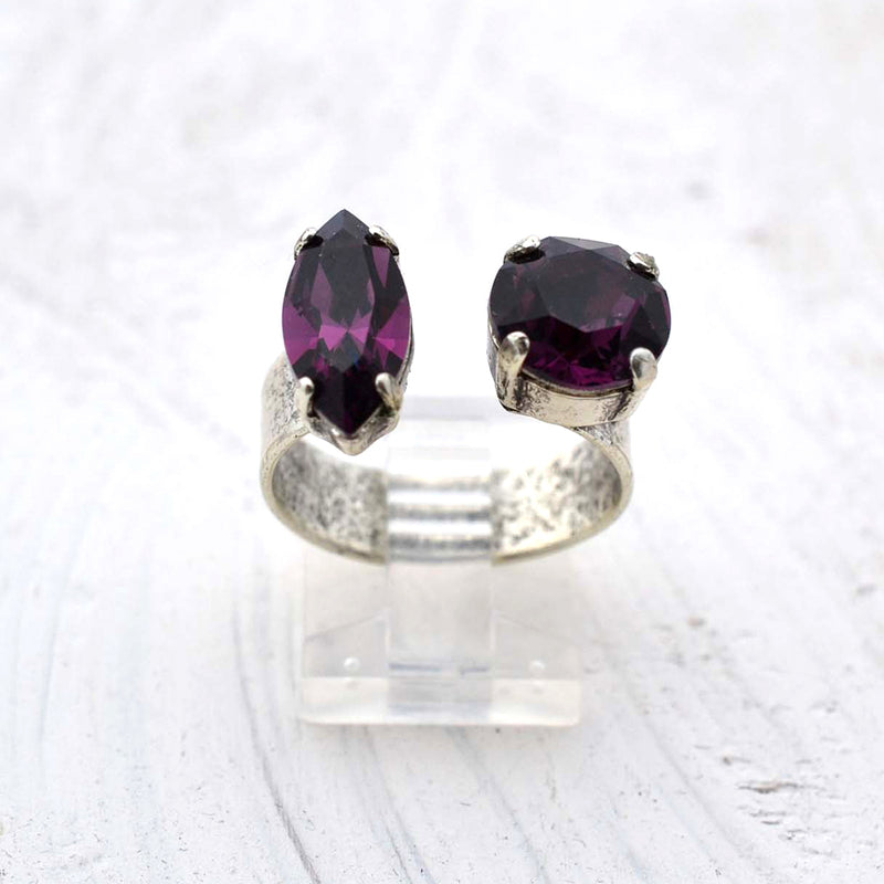 Silver cocktail ring with amethyst Swarovski crystal