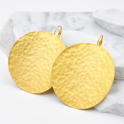 hammered gold big disc earrings