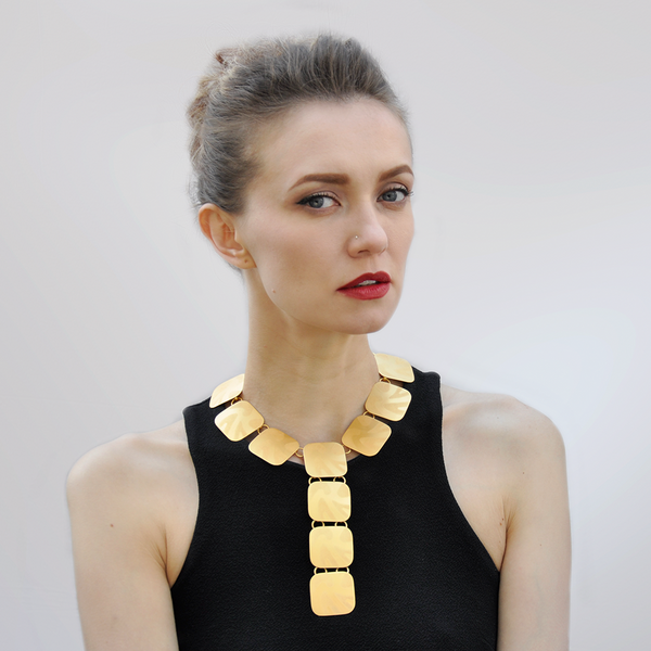 Large gold collar necklace