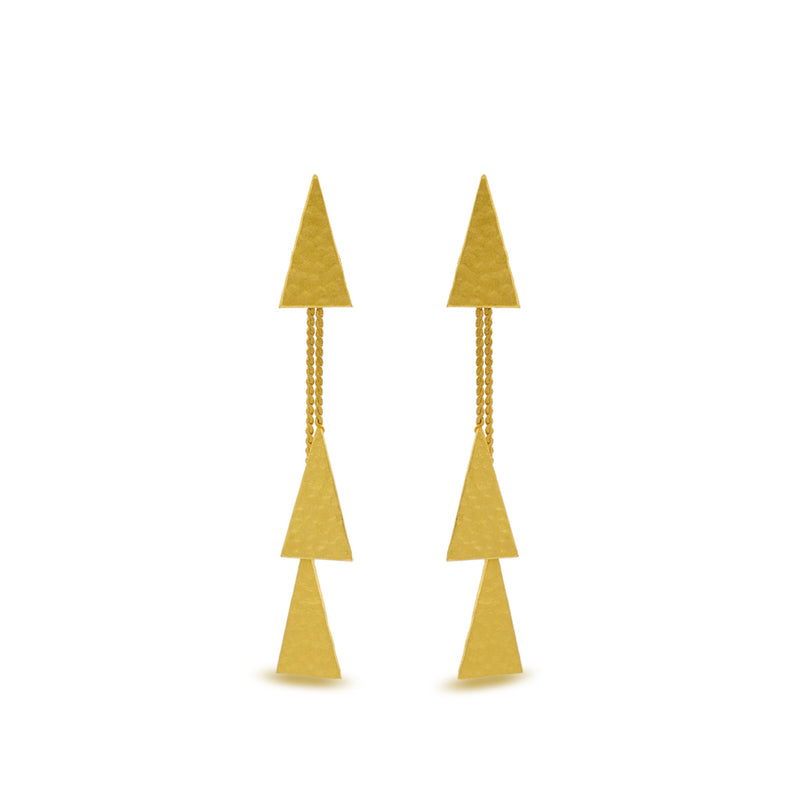 hammered Gold triangle earrings with dangle tassle