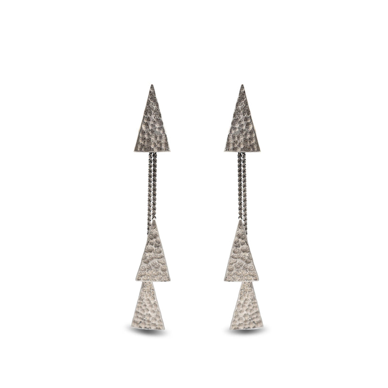 hammered silver triangle earrings