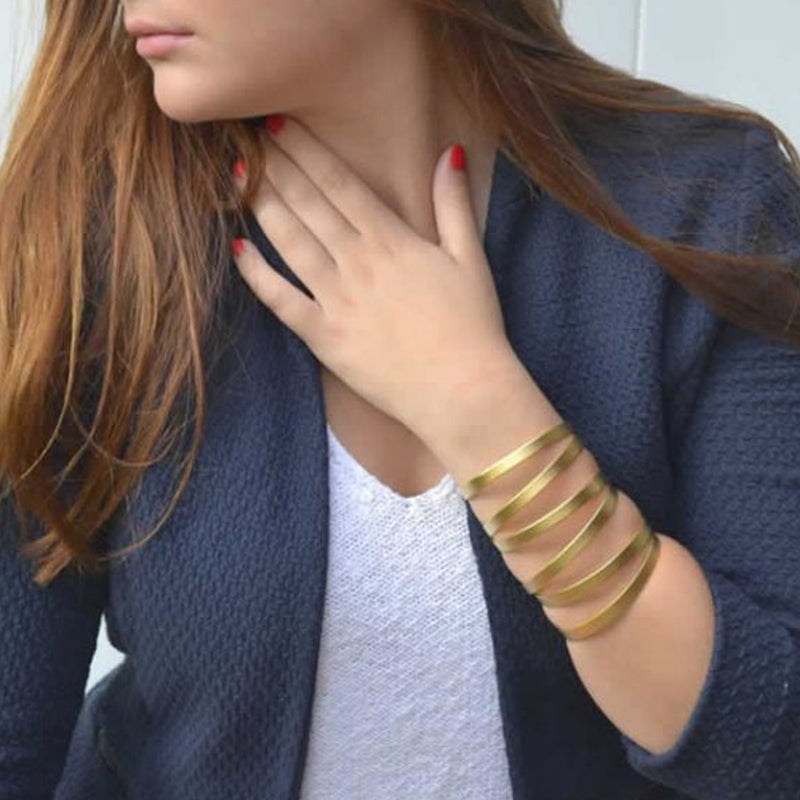gold multi-band cuff bracelet