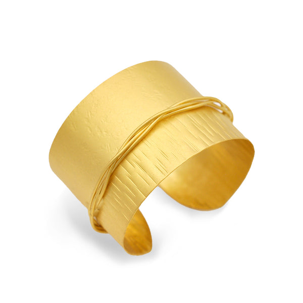 gold band cuff bracelet with wire decoration