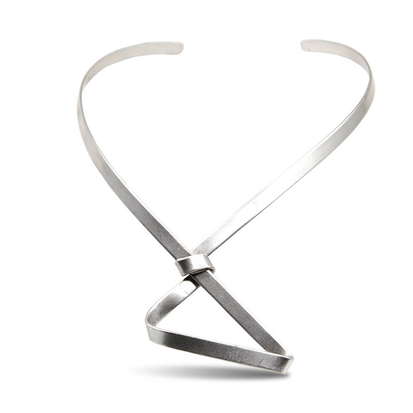 Abstract shape silver necklace