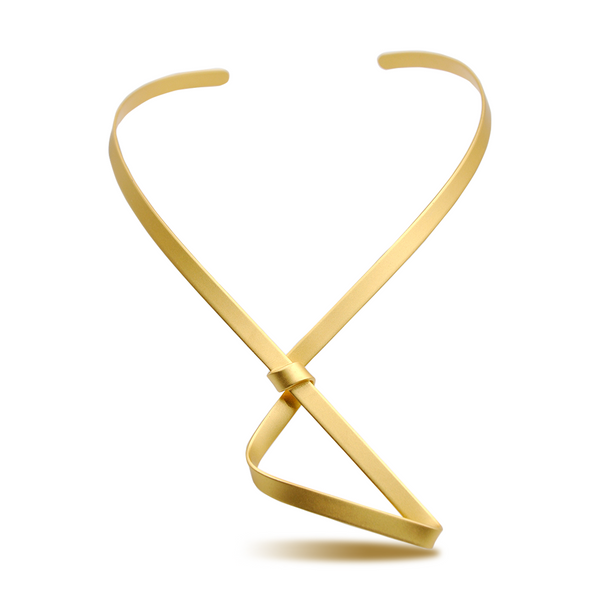 Abstract shape gold necklace