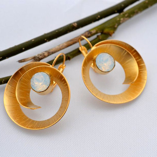 Gold spiral earrings with white opal color Swarovski crystals