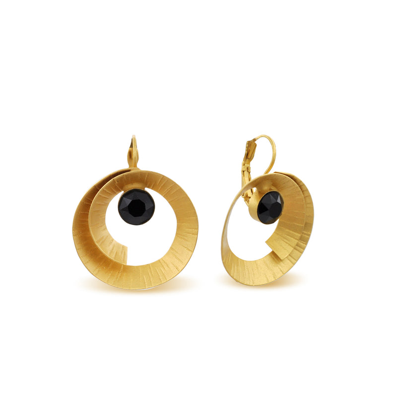 hammered gold spiral form earrings with black crystals