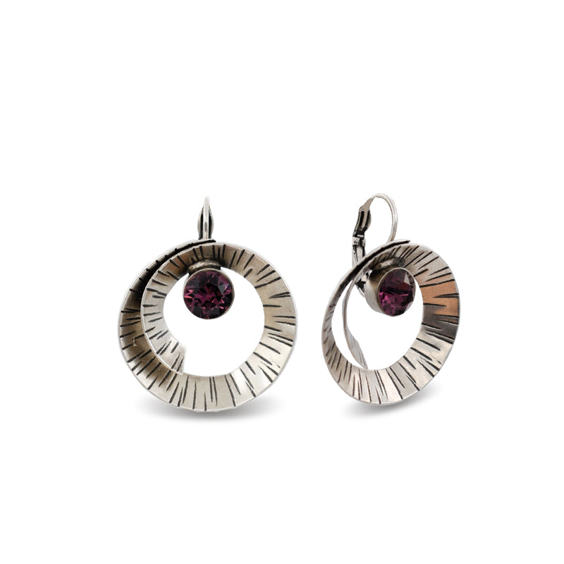 hammered silver spiral form earrings with amethyst crystals