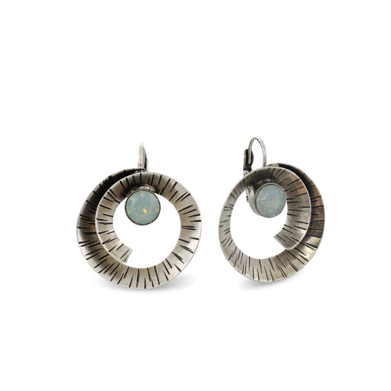 hammered silver spiral form earrings with pacific opal crystals