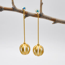 Gold chain drop threader earrings with Swarovski