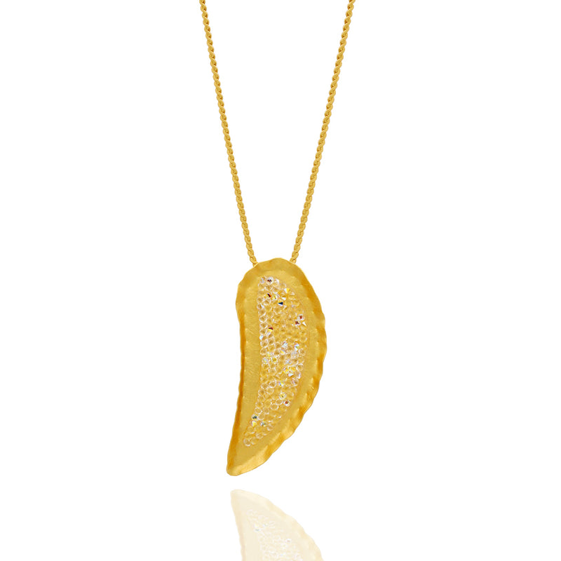 Gold drop necklace with white crystals