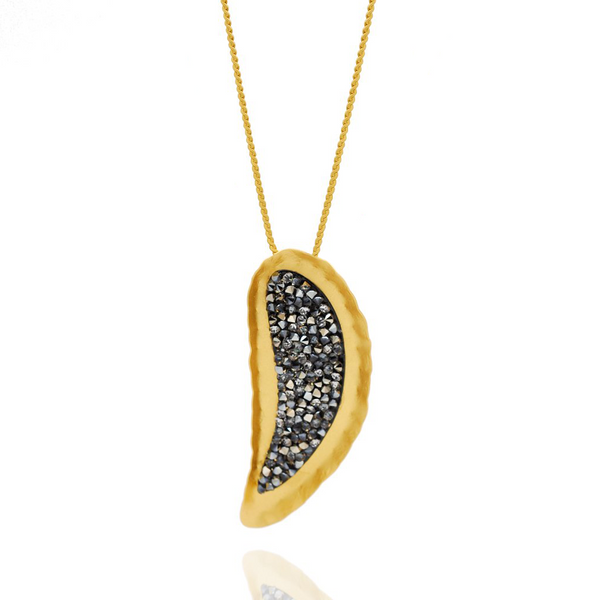 Gold drop necklace with black crystals