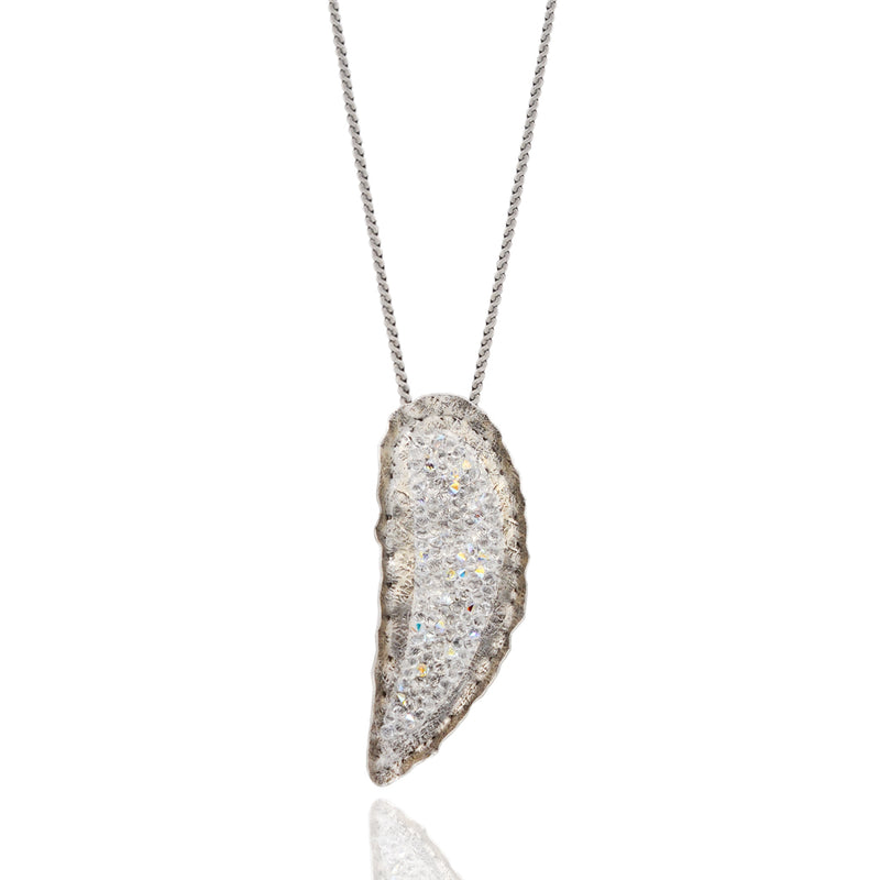 Silver drop necklace with white crystals
