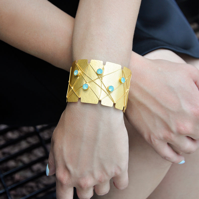 Gold statement cuff bracelet with pacific opal Swarovski