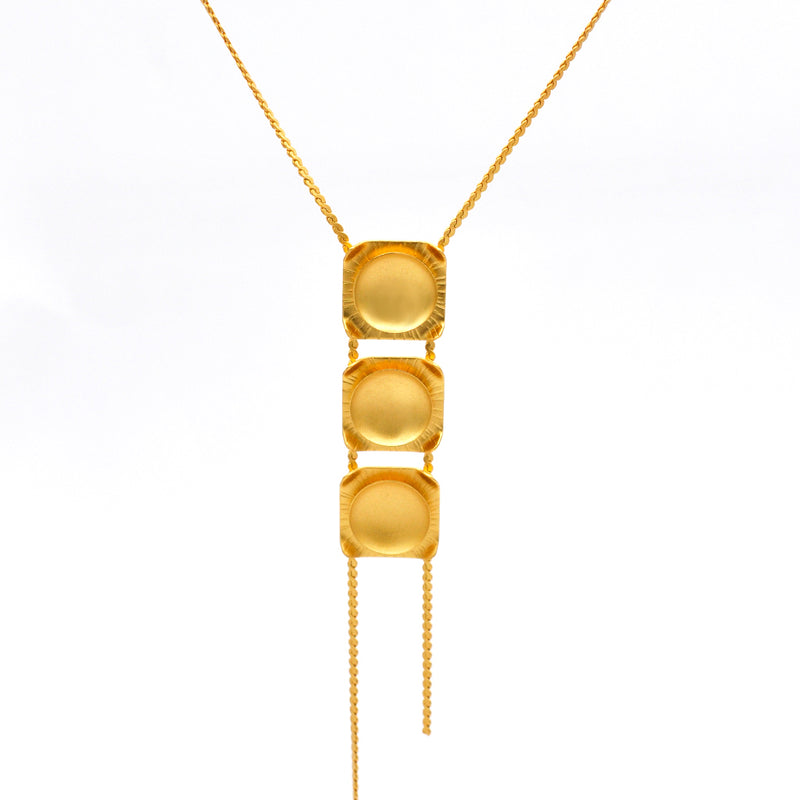 Gold long geometric chain necklace
