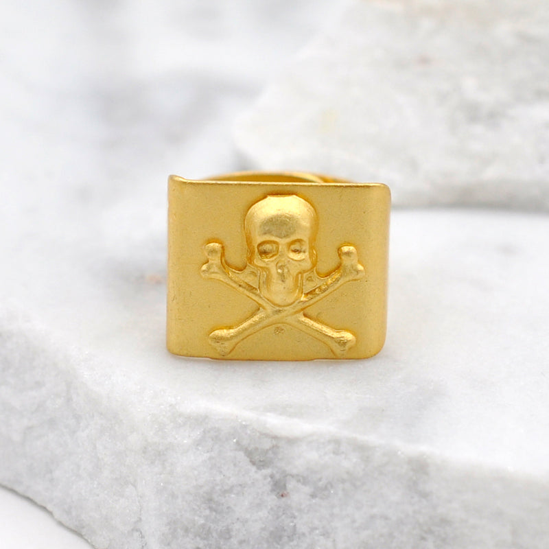gold skull bone ring