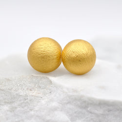 Gold button style stud earrings