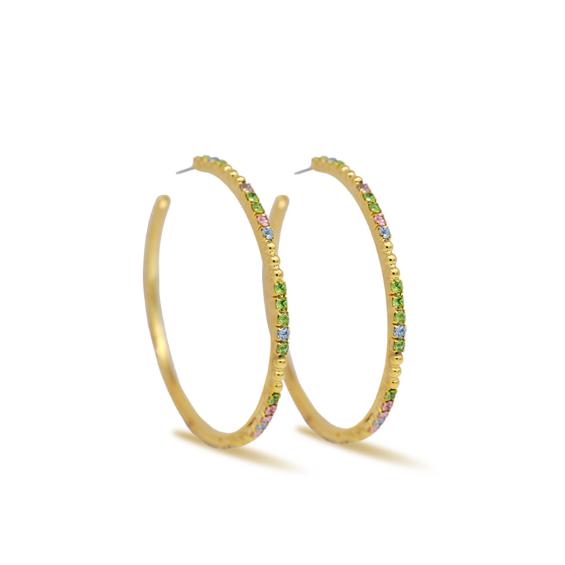 Large gold hoop earrings with multicolor crystals