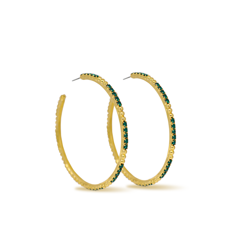 large gold crystal hoop earrings with emerald
