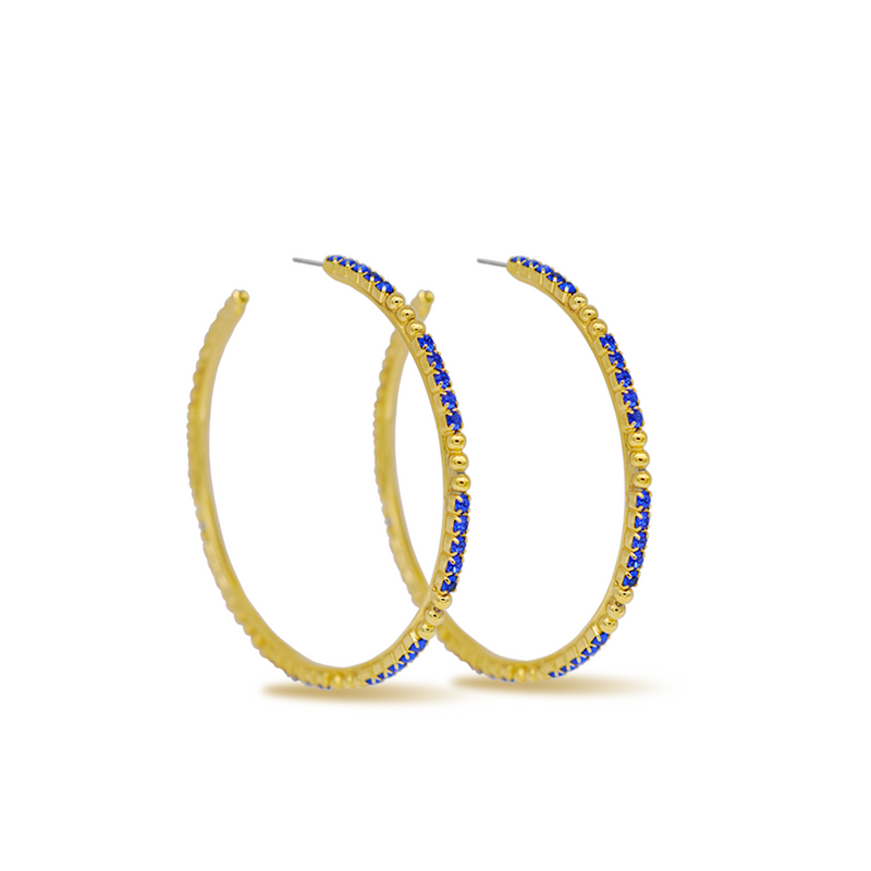 large gold crystal hoop earrings with sapphire