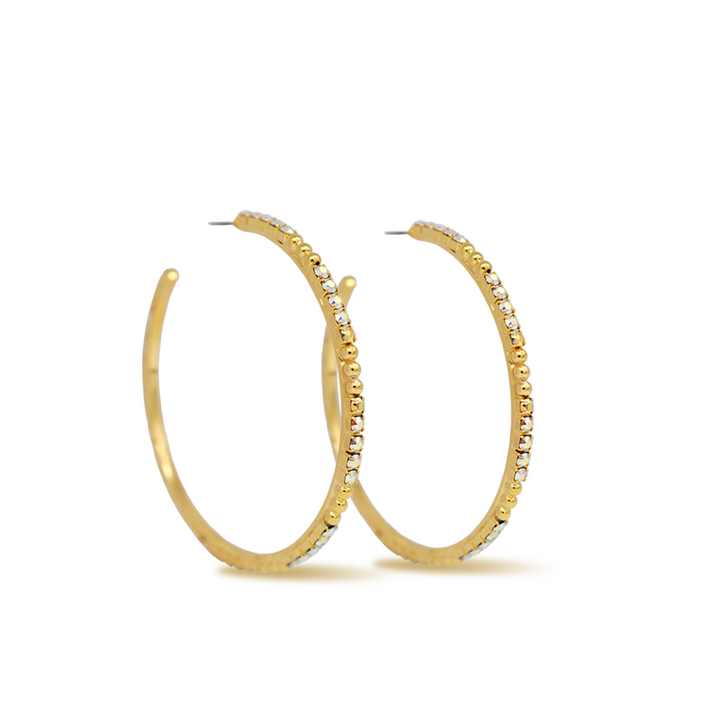 Large gold hoop earrings with aurora crystals