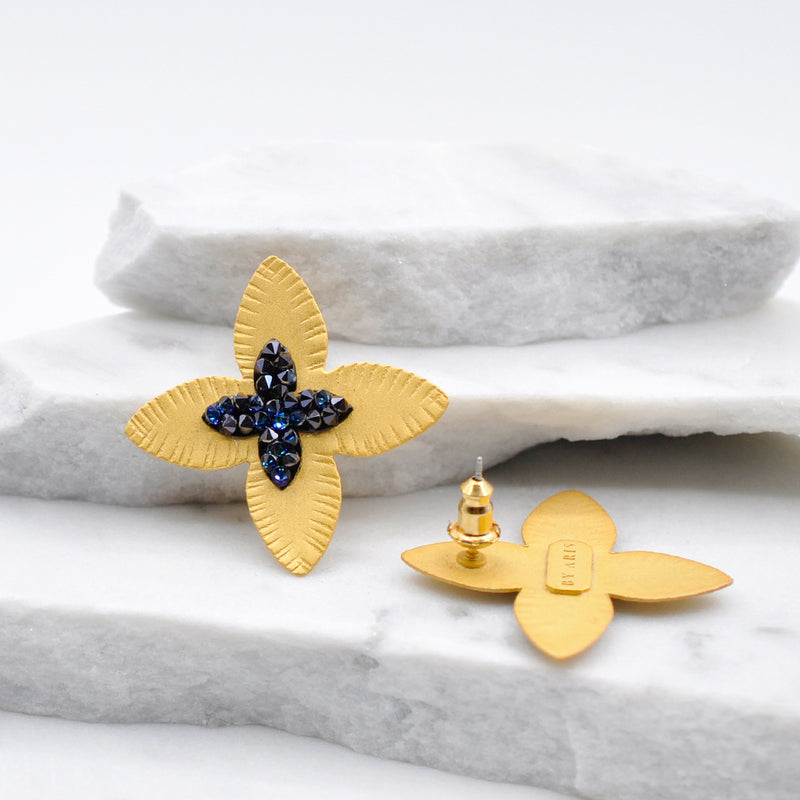 Gold flower stud earrings with Swarovski crystals