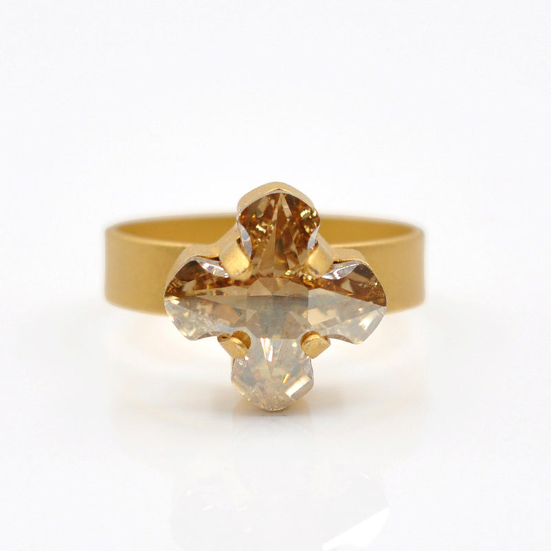 gold cross ring with Swarovski Crystal