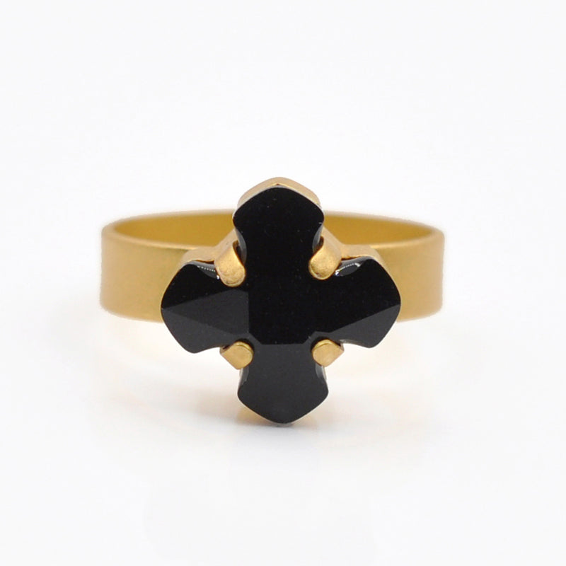 gold greek cross ring with an onyx Swarovski crystal