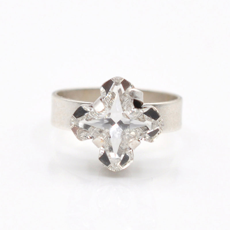 Silver cross ring with a Swarovski crystal