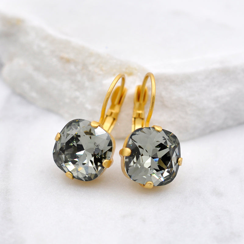 gold crystal earrings with smokey grey Swarovski crystal