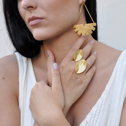hammered gold leaf statement ring