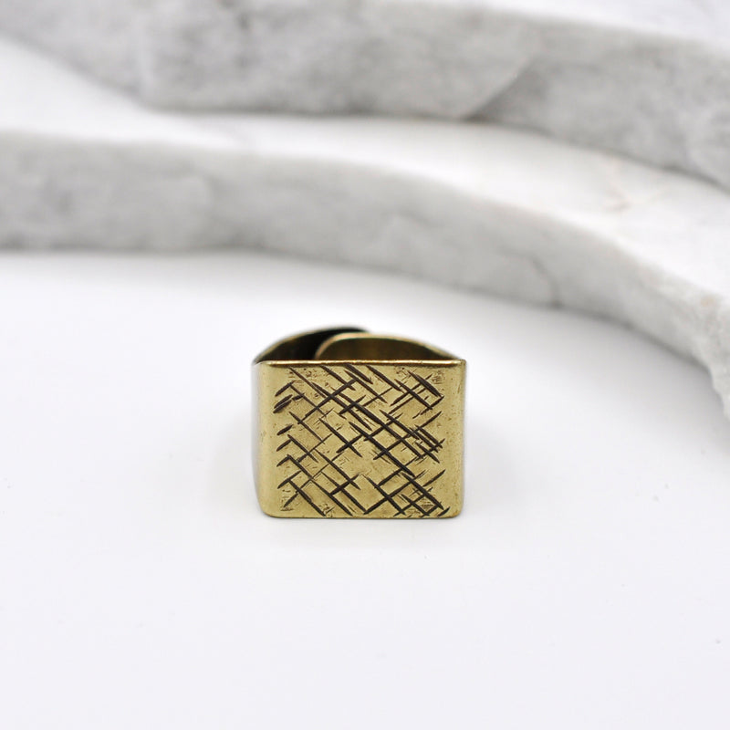 hammered bronze square ring