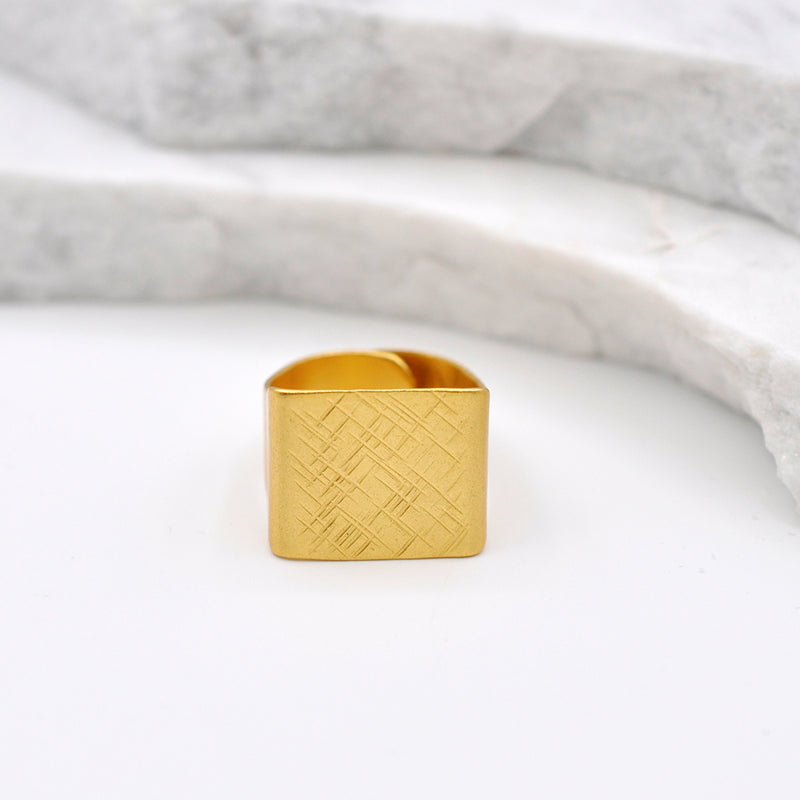 Hammered gold square ring